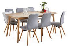 CELIA-ruokapöytä ja 6 AMANDA-tuolia 90 x 180 cm