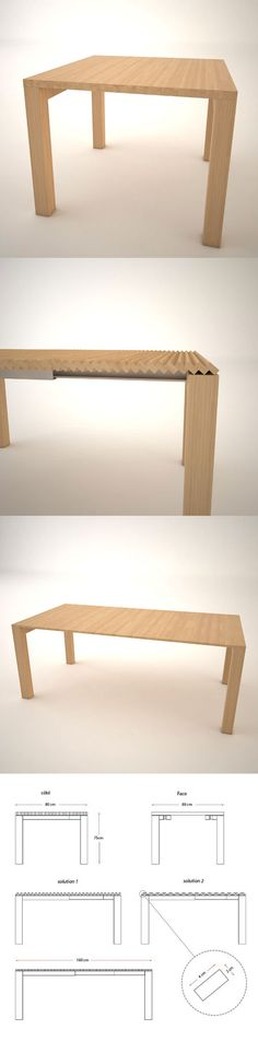 New designs being forged that allow a table to be opened up using a tiny concertina effect (the ingenious concept above) that negates the need for any separate pieces, as well as many that now have the leaves folded and concealed within the table itself.