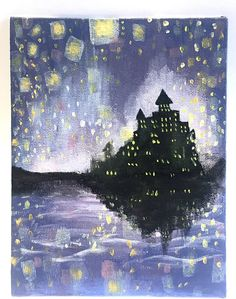 Items similar to Tangled Painting / Rapunzel / Disney's Tangled / Floating Lanterns/ Castle / Canvas Board / Decoration / Acrylic Painting / Gift / Wall Art on Etsy Tangled Painting, Castle Painting, Baby Canvas, Board Decoration, Nerd Art, Canvas Board, Cool Art, Arts And Crafts