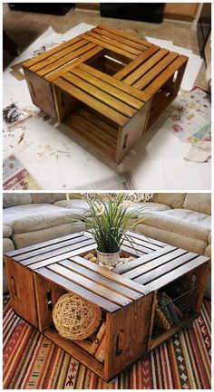 22 DIY Coffee Tables to show off your expertise - Page 17 of 23 DIY Wine Crate Coffee Tab. - 22 DIY Coffee Tables to show off your expertise - Page 17 of 23 DIY Wine Crate Coffee Table I have to say that wine boxes are one of my favorite c. Home Design Diy, Design Ideas, Diy Coffee Table, Wooden Crate Coffee Table, Crate Table, Ideas For Coffee Tables, Small Table Ideas, Pallet Coffee Tables, Diy Side Tables