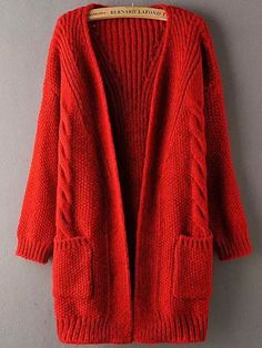 Red Long Sleeve Pockets Cable Knit Sweater Coat 25.41