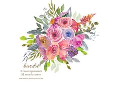 50 % Off Watercolor Pastel Florals by PatishopArt on @creativemarket