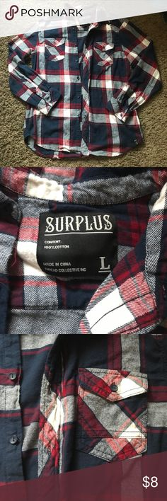 Button Up Flannel Men's Flannel. My husband only wore it once, in perfect condition. surplus Shirts Casual Button Down Shirts