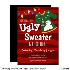 Little Ugly Sweater Get Together Christmas Party Invitation Ugly Sweater Party, Ugly Christmas Sweater, Holiday Fun, Christmas Holidays, Christmas Party Invitations, Colored Envelopes, Zazzle Invitations, Holiday Parties, Being Ugly