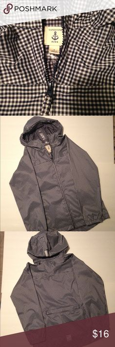 Lands End Kids Raincoat Gingham Size 7-8 Lands End Kids Raincoat Gingham Navy / White. Size Small 6-7. 100% Polyester. Great Used Condition. Please see photos for details. Lands' End Jackets & Coats Raincoats