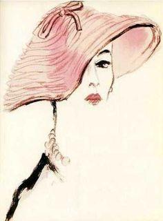 Fashion hat - 1953 - Fashion illustration by Carl Erickson aka Eric