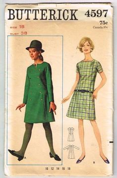 Sewing Pattern Butterick 4597 1960's Fashion A-Line Dress Hip Chic 18/38 Vintage #Butterick #Dress