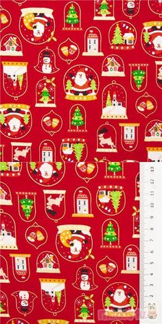 snowglobes and baubles with Christmas trees, reindeer, castle, Santa, snowmen, bells, gingerbread houses, in white, green, yellow, red etc. with metallic gold embellishment on red background, 100% cotton, high quality fabric from Japan #Cotton #Items #Characters #Metallic #JapaneseFabrics
