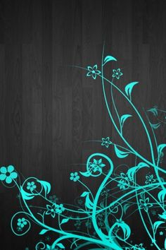 Turquoise flowers on black boards wallpaper
