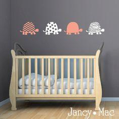 Turtle Wall Decal Polka Dots Zebra Stripe Chevron Modern Adorable Vinyl Tortoise Decor S Bedroom Cg118
