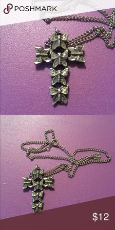 Sterling Silver Butterfly Cross Necklace 🌸 Welcome and thank you for checking out my closet 🌸  Please read below if you are interested in the item:  All items are 💯% Authentic!   Always open to reasonable offers and possible trades.   🛍 Up for sale: Excellent condition. Rarely worn. Cross is sterling silver, chain is not. Beautiful butterflies on it Jewelry Necklaces
