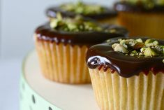 Pistachio Cupcakes with Chocolate Ganache Topping by annies-eats via marthastewartliving Baking Cupcakes, Yummy Cupcakes, Cupcake Recipes, Cupcake Cakes, Dessert Recipes, Pretty Cupcakes, Cup Cakes, Mini Cakes, Just Desserts