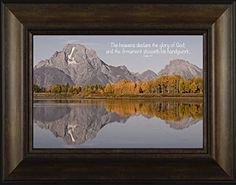Handywork By Todd Thunstedt 20x26 Psalms 19:1 Grand Teton National Park Yellowstone Old Faithful Oxbow Bend Jackson Lodge Water Galilee Religious Bible Verse Quote Framed Art Print Wall Décor Picture ThunderMark Art and Graphics http://www.amazon.com/dp/B014BZFA0Y/ref=cm_sw_r_pi_dp_7u64vb0H3HQYP