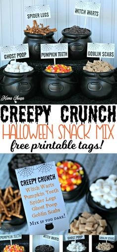 Creepy Crunch Halloween Snack Mix + FREE Printable Tags Grab some snacks and kick off your Halloween party treats with this easy and silly Creepy Crunch Halloween Snack Mix! Halloween Desserts, Halloween Dessert Table, Halloween Party Treats, Halloween Birthday, Baby Halloween, Halloween Recipe, Halloween Cupcakes, Halloween 2020, Cute Halloween Food