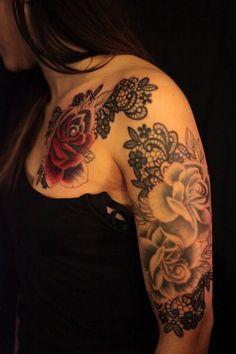 peony and lace tattoo