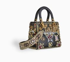 Lady Dior bag in black smooth calfskin embroidered with a beaded heart