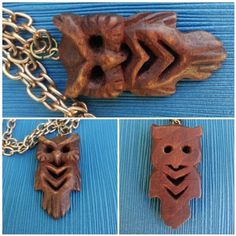 Items similar to Wood pendant Owl Gift for her Russian gift Women Jewellery nature Carved necklace Boho Hand carving pendant Rustic totem animal Bird Runes on Etsy Wooden Statues, Wooden Figurines, Owl Gifts For Her, Spoon Art, Wood Animal, Celtic Patterns, Primitive Folk Art, Original Gifts, Hand Carved