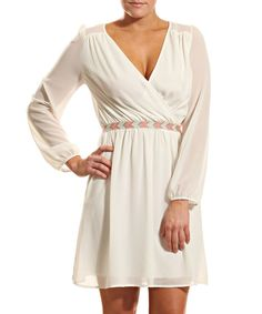 Look what I found on #zulily! Ivory Surplice Dress by Coveted Clothing #zulilyfinds