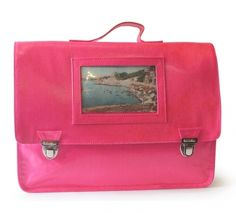 Pink school satchel in laminated cotton with photo holder 39x30x10cm. Made in France.