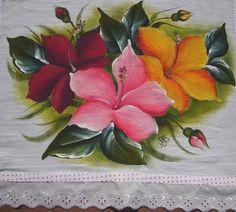 Pintura em tecido flor Pintura em tecido