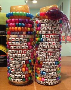candy bracelets rave - Google Search around edge of paddle