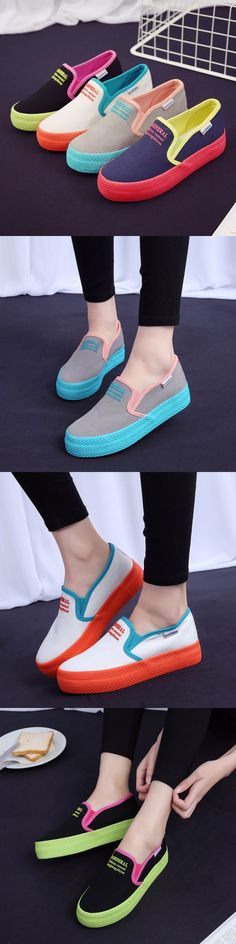 US$19.89 M.GENERAL Soft Loafers Female Candy Color Canvas Flat Creepers Casual Shoes