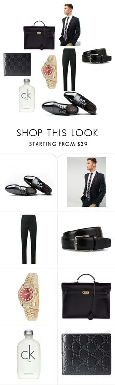"""""""Casual / Work"""" by jaylaledwards on Polyvore featuring Farah, Yves Saint Laurent, Tod's, Rolex, Hermès, Calvin Klein, Gucci, men's fashion and menswear"""