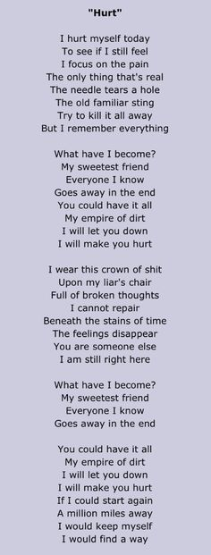 hurt // nine inch nails • lyrics