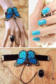 Gorgeous Blue Butterfly Vintage Style Lady's Bracelet.