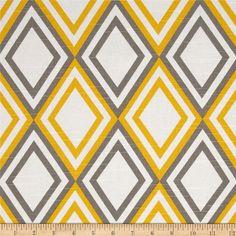 "Pair of 25"" Premier Print Annie Yellow Kelp geometric rod pocket curtain panels drapes 25x63"" 25x84"" 25x96"" 25x108"" grey, yellow and white"