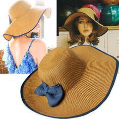 Vente en gros chapeaux grosse vague rétro chapeau de paille chapeau de plage chapeau femme arc, visière. dim.