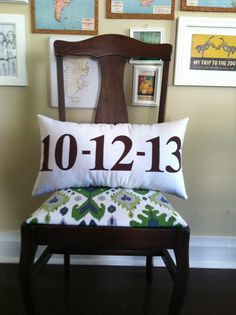 Listing for Special Date Lumbar Pillow In White and Brown - Available in Other Colors on Etsy, $37.00