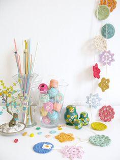 Folk flowers bunting, Stella crochet garland in multi colored vintage rainbow brights, kitsch home decor | Emma Lamb