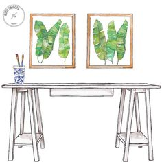 Good objects - Leaves I & II. Framed art @st_clemente #goodobjects #gallerywall #illustration #watercolor