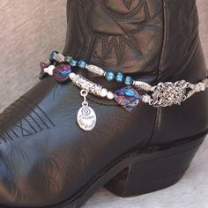 Peacock Blue Beaded Boot Bracelet by FunkyFrogsCrafts on Etsy, $60.00