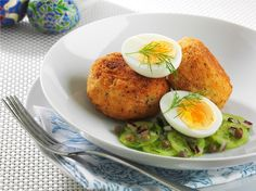 Smoked Trout Patties with Soft Boiled Egg and Cucumber, Dill and Caper ...