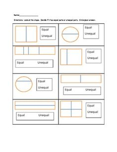This worksheet is for students to practice equal and unequal parts of a whole.