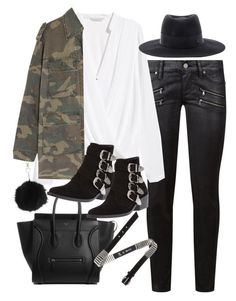 """Outfit for winter with a military jacket"" by ferned ❤ liked on Polyvore featuring Paige Denim, H&M, Yves Saint Laurent, Maison Michel, McQ by Alexander McQueen, Topshop and Toga"