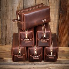 Famous Horween Leather Men's Toiletry Bag by LifetimeLeatherCo