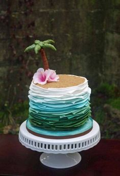Check out this super fun tropical cake. We love it for a Disney inspired Moana themed birthday party! Check out this super fun tropical cake. We love it for a Disney inspired Moana themed birthday party! Luau Cakes, Beach Cakes, Beach Themed Cakes, Ocean Cakes, Pool Party Cakes, Disney Themed Cakes, Cake Party, Pool Parties, Summer Parties