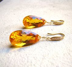 Lavish Yellow Citrine Gold Earrings  Pave  Luxury by VeraidaGifts, $89.00