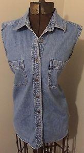 Levi'S Button UP Sleeveless Shirt Light Wash Size M Jean Vest Vintage Moto Biker   eBay