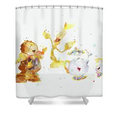 Beauty And The Beast Lumiere Cogsworth Shower Curtain For Sale By Monn Print