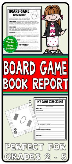 Students pick a fictional book and design a game based on it! Students love this creative Board Game book report and it is a great way to recycle/reuse materials too! Students are responsible for creating the Game Board, Game Pieces and completing a 2-Page Game Directions and Book Summary sheet.