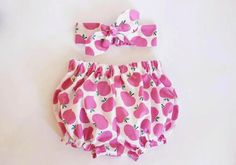 Pink Apples, Baby Bloomers and Headband Set©, baby girl headband, baby bloomers…