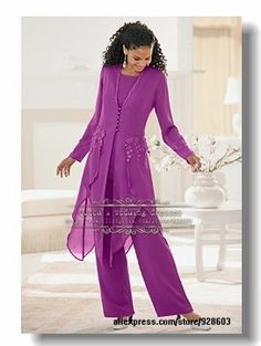 Glamorous purple Chiffon mother of the bride pant suits