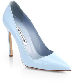 Perfection! Spring must have...Manolo Blahnik Bb Patent Leather Pumps in Blue (LIGHT BLUE)