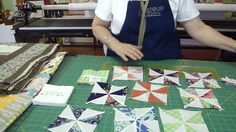 Easy pinwheels from charm packs (sew around all four sides; cut along diagonals).