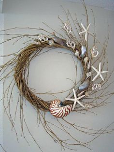 BEACH DECOR SEASHELL Wreath Floating Shells by justbeachynow, $56.00 This can easily be a DIY project- Less than $10. With a wreath from flower factory & your own seashells where there's plenty of free ones at the beach & a hot glue gun!!