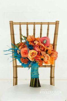 #blueandorangewedding #bridalbouquet